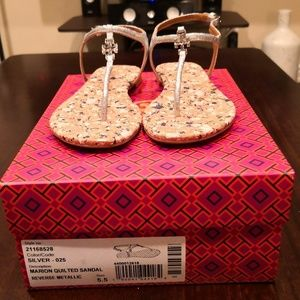 Tory Burch Marion Quilted Sandal Silver